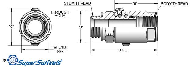 BSPP Swivel CAD Drawing